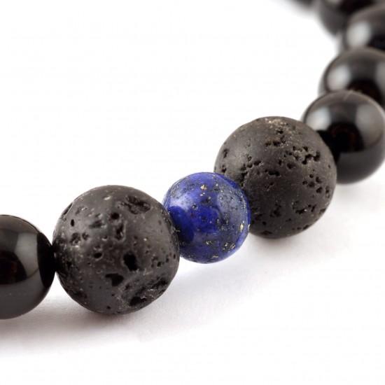 Lápisz lazuli-Lávakő-Ónix Férfi Karkötő