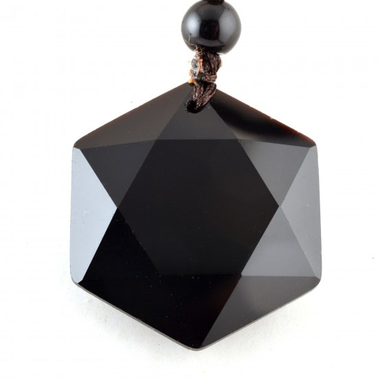 Hexagram obszidián medál